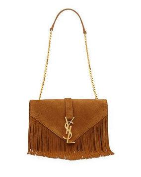 Saint Laurent Monogramme Suede Fringe Shoulder Bag