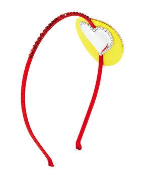 Bari Lynn Girls' Crystal Rainbow Heart-Eyes Emoji Headband, Multi