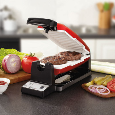 Oster 7-Minute Grill with DuraCeramic Coating and Digital Timer, RedWhite, CKSTCG22R-ECO