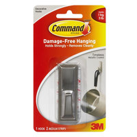 Command Brushed Nickel Timeless Medium Hook - 1 Medium Hook - 3 lb (1.36 kg) Capacity - Plastic - Metallic Silver - 1 Pack