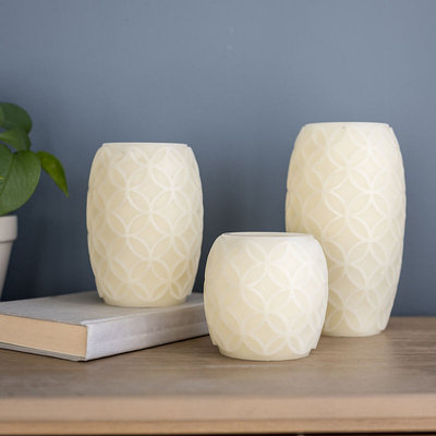 Apothecary Led 3 Piece Embossed Candle Set 3-pc. Flameless Candle