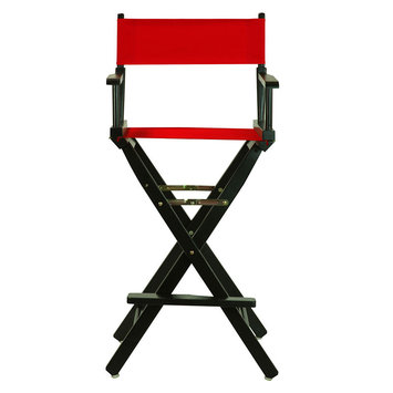 Yu Shan Director'S Chair: Bar-Height Director's Chair - Black Frame, Red Canvas