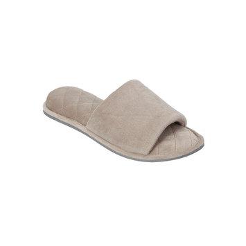 Dearfoams Microfiber Velour Slide Slippers S, Pewter