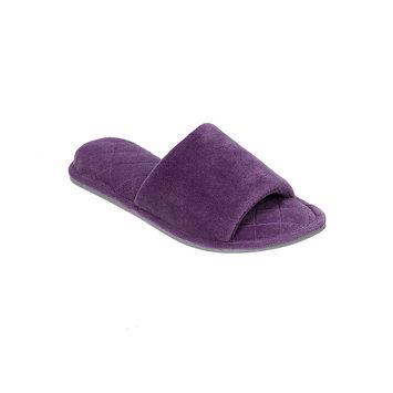 Dearfoams Microfiber Velour Slide Slippers L, Smokey Purple