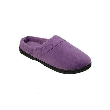 Dearfoams Microfiber Velour Clog Slippers XL, Smokey Purple