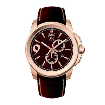 The Watch Piece Jivago Men's JV1511 'Gliese' Chronograph Maroon Leather Watch
