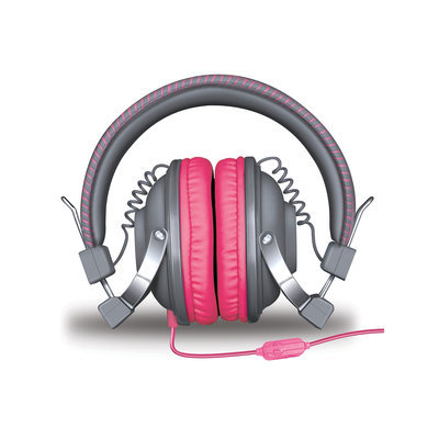 Isound Dghm-5520 Hm260 Dynamic Stereo Headphones With Microphone [gray/pink]