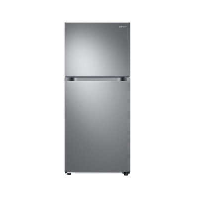 Samsung RT18M6215SR Top Mount Freezer Refrigerator with 18 cu. ft. Capacity 2 Full Size Refrigerator Shelves Crispers Door Storage and Factory Installed Ice Maker
