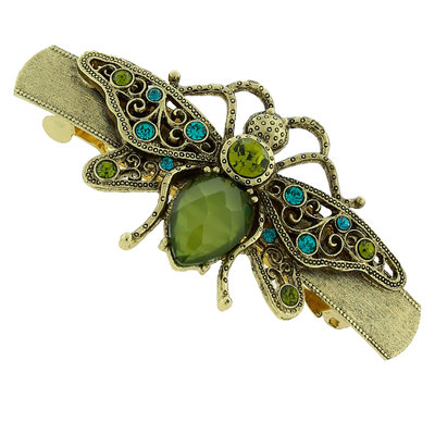 1928 Green & Blue Zircon Bee Barrette