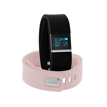 Itouch Ifitness Activity Tracker Silver/Black And Blush Interchangeable Band Unisex Multicolor Strap Watch-Ift2438bk668-Bbk