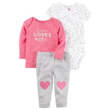 Waterbury Garment Carter's Infant Girls' Bodysuit, Shirt & Pants - Daddy Loves Me, Pink