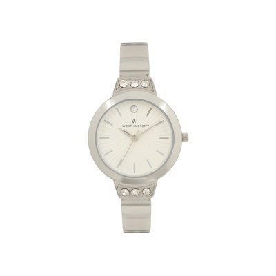 Worthington Womens Silver Tone Crystal Accent Bracelet Watch