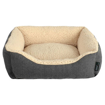 Woolrich Herringbone Cuddler Dog Bed, Black