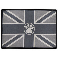 P.B. Paws & Co. 13-Inch x 19-Inch Union Jack Pet Mat in Silver
