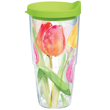 Tervis Tumbler Company Tervis Tea for Tulips Wrap Bottle with Lime Green Lid, 24-Ounce, Garden Party