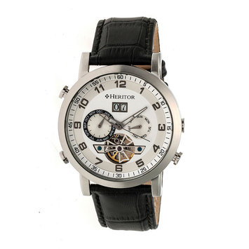 Heritor Automatic HERHR6201 44mm Edmond Mens Watch Silver