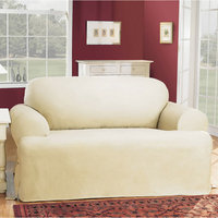 SURE FIT Cotton Duck T-Cushion Loveseat Slipcovers