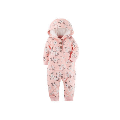 Baby Girl Carter's French Terry Patterned Hooded Coverall, Size: 24 Months, Pink