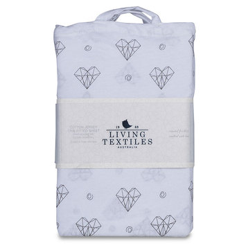 Living Textiles Paper Hearts Fitted Crib Sheet in Charcoal Grey