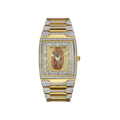Wittnauer Men's Pave Accent Gold-Tone Stainless Steel Bracelet Watch 43x33mm WN3039