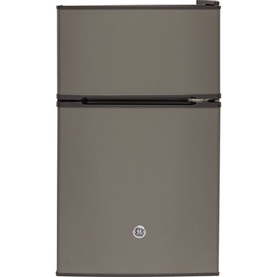 GE GDE03GMKED 19 Inch Top Freezer Compact Refrigerator with 2 Glass Shelves, Storage Drawer, 2 Door Bins, Beverage Can Door Bin, Freezer Door Bin and Mini Ice Cube Tray: Slate