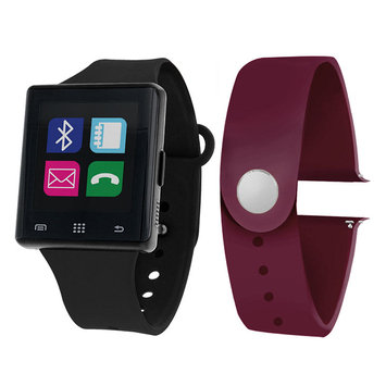 Itouch Air Air Activity Tracker & Interchangeable Band Set Black/Maroon Unisex Multicolor Smart Watch-Jcp2722b724-Blp