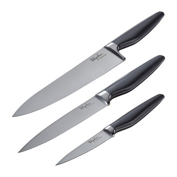 Ayesha Curry 3pc Home Collection Japanese Steel Cooking Knife Set, Gray