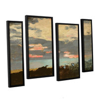 Brushstone Sunset; Saco Bay 4-pc. Floater Framed Staggered Canvas Wall Art