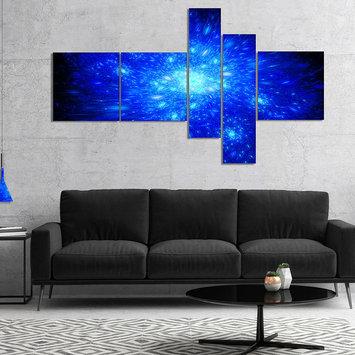 Design Art Designart Blue Fireworks On Black Multipanel Abstract Art On Canvas - 5 Panels