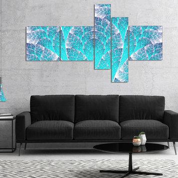 Design Art Designart Exotic Blue Biological Organism Multipanel Abstract Art On Canvas - 5 Panels