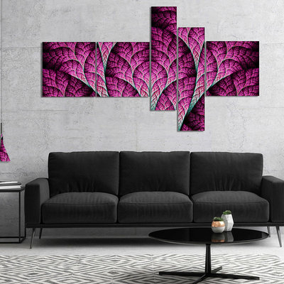 Design Art Designart Exotic Pink Biological Organism Multipanel Abstract Art On Canvas - 5 Panels