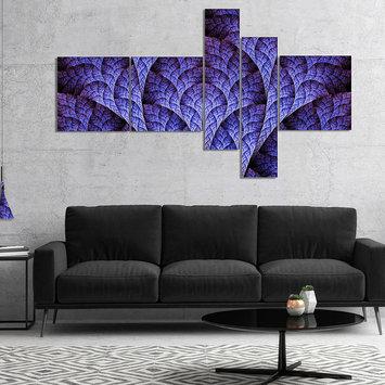 Design Art Designart Exotic Purple Biological Organism Multipanel Abstract Art On Canvas - 5 Panels