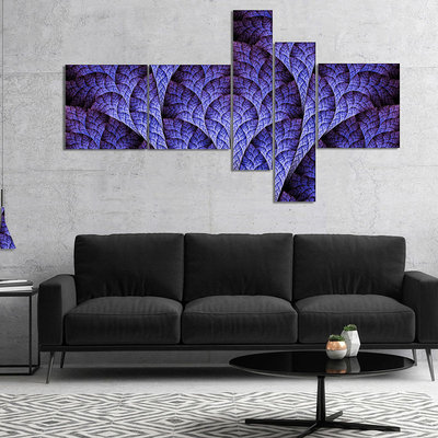 Design Art Designart Exotic Purple Biological Organism Multipanel Abstract Art On Canvas - 5 Panels