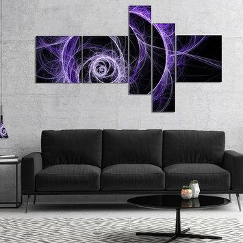 Design Art Designart Exotic Blue Flower Multipanel Floral ArtCanvas Print - 5 Panels