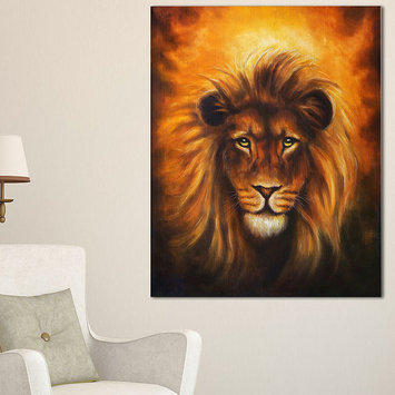 Design Art Designart Lion Head With Golden Mane Animal CanvasArt Print