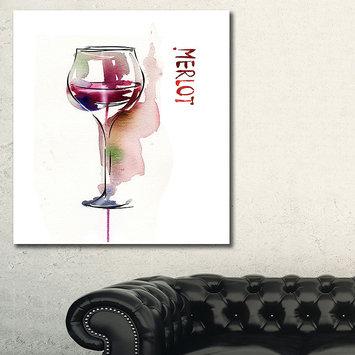 Design Art Designart Red Wine Contemporary Artwork
