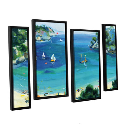 Brushstone Cala Galdana; Minorca 4-pc. Floater Framed Staggered Canvas Wall Art