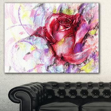 Design Art Designart Red Rose Illustration Floral Art CanvasPrint