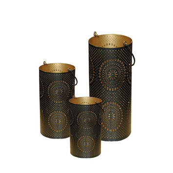 Northlight Set of 3 Black and Gold Decorative Floral Cut-Out Pillar Candle Lanterns 12.5