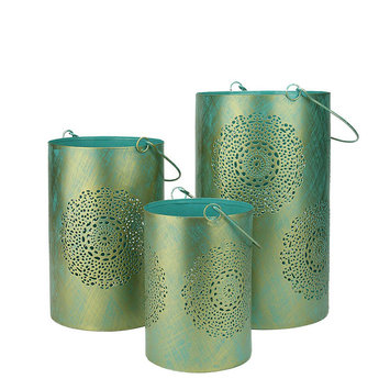 Northlight Set of 3 Turquoise Blue and Gold Decorative Floral Cut-Out Pillar Candle Lanterns 10