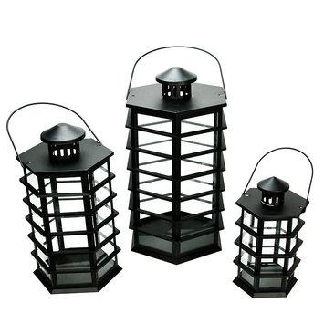 Asstd National Brand Set of 3 Black Modern Design Glass Pillar Candle Lanterns 10.5