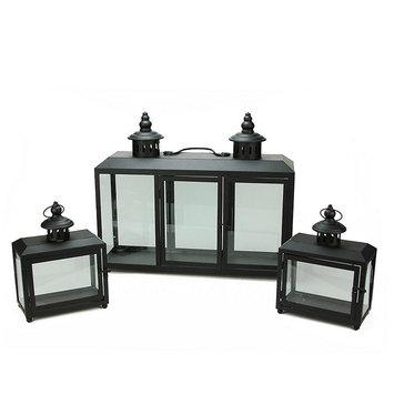 Asstd National Brand Set of 3 Decorative Black Wide Colonial Design Glass Pillar Candle Lanterns 7.75