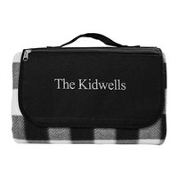 Cathys Concepts Personalized Black & White Plaid Tailgate Picnic Blanket