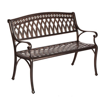 Patio Sense Simone 2-Person Antique Bronze Cast Aluminum Outdoor Bench