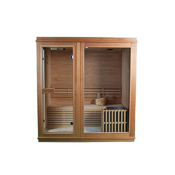 Asstd National Brand ALEKO 4 Person Wood Indoor Wet Dry Sauna with Electrical Heater