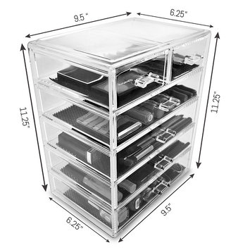 Acrylic Drawer makeup organizer With Removable Drawers 4 large and 2 small drawers