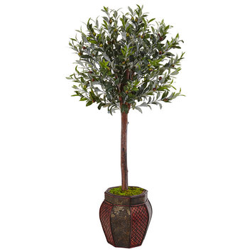 Asstd National Brand 4.5 Olive Topiary Artificial Tree in Weave Panel Planter