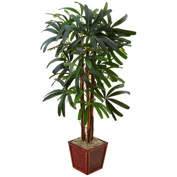 Asstd National Brand 5 Raphis Palm Artificial Tree in Bamboo Planter
