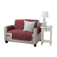 Great Bay Home Kaylee Collection Oxblood Red Reversible Quilted Furniture Loveseat Protector