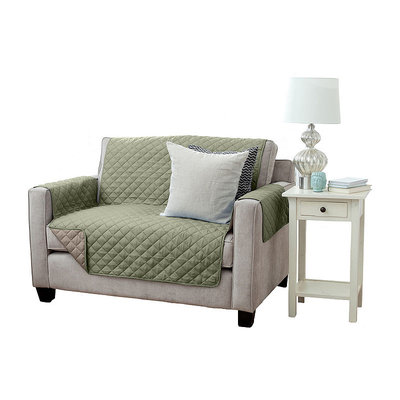 Great Bay Home Kaylee Collection Tea Green Reversible Quilted Furniture Loveseat Protector
